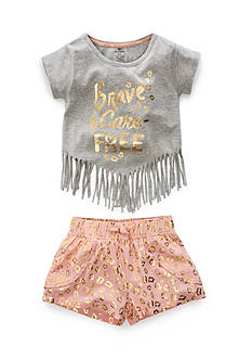 One Step Up 'Brave and Carefree' Top and Challis Short 2-Piece Set Girls 4-6x