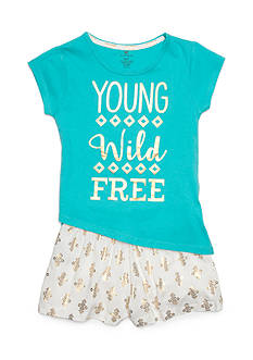 One Step Up 'Young Wild and Free' Graphic Top and Short 2-Piece Set Girls 4-6x