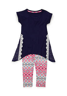 One Step Up Solid Top and Printed Legging 2-Piece Set Girls 4-6x