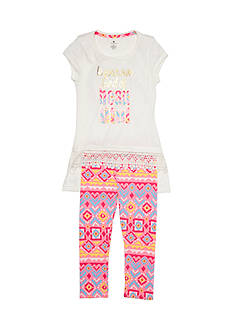 One Step Up Graphic Top and Printed Legging 2-Piece Set Girls 4-6x