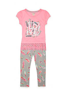 One Step Up 'Love' Screen Tee and Legging 2-Piece Set Girls 4-6x