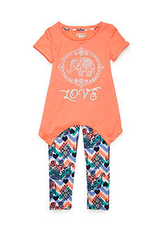 One Step Up 'Love' Elephant Screen Tee and Leggings 2-Piece Set Girls 4-6x