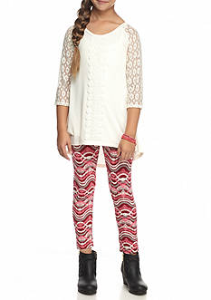One Step Up Crochet Sleeve Top and Printed Legging 2-Piece Set Girls 7-16