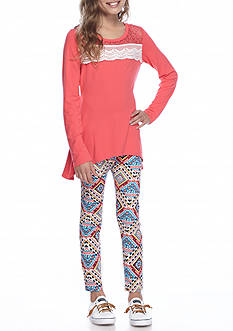 One Step Up Coral Crochet Front Top and Leggings 2-Piece Set Girls 7-16