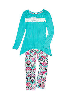 One Step Up 2-Piece Crochet Front Top and Print Leggings Set Girls 7-16