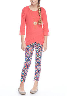 One Step Up Solid Tunic and Printed Leggings 2-Piece Set Girls 7-16