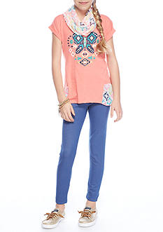 One Step Up Butterfly Tunic Scarf and Leggings 3-Piece Set Girls 7-16
