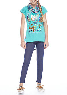 One Step Up 'Love to be Inspired' Tunic Scarf and Leggings 3-Piece Set Girls 7-16