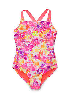 Breaking Waves Daisy Print Jeweled One Piece Swimsuit Girls 7-16