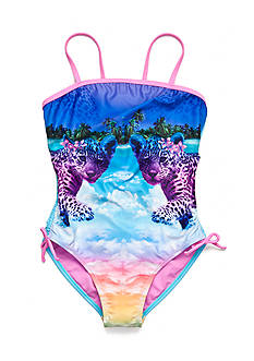 Breaking Waves Leopard Island Tropical One Piece Swimsuit Girls 7-16