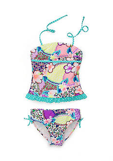 Breaking Waves 2-Piece Printed Ruffle Tankini Girls 7-16
