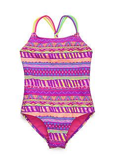 Breaking Waves 1-Piece Rainbow Tribal Swimsuit Girls 7-16