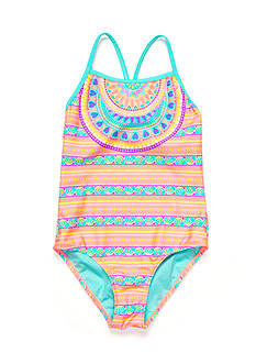 Breaking Waves 1-Piece Medallion Swimsuit Girls 7-16