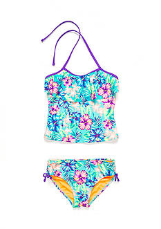 Breaking Waves 2-Piece Hawaiian Dreams Flounce Tankini Girls 7-16