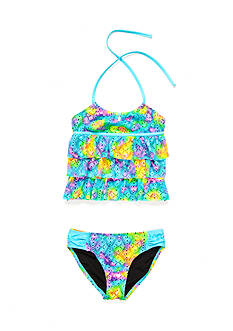 Breaking Waves 2-Piece Tie Dye Tier Tankini Girls 7-16