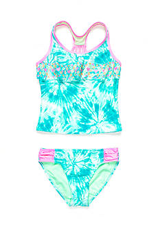 Breaking Waves 2-Piece Tie Dye Flounce Tankini Girls 7-16