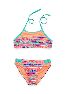 Breaking Waves 2-Piece Aztec Stripe Highneck Bikini Girls 7-16
