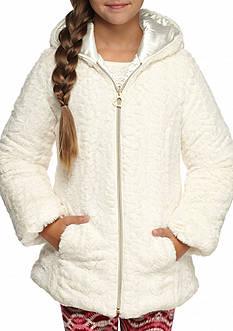 Amy Byer Fuzzy Hooded Zip Jacket Girls 7-16