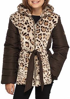 Amy Byer Mixed Media Puffer Jacket Girls 7-16