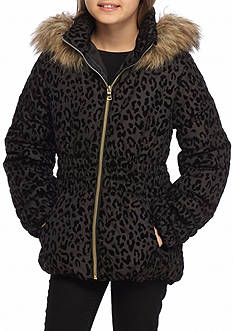 Amy Byer Flocking Leopard Puffer Coat Girls 7-16
