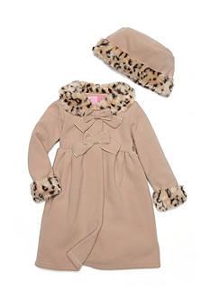 Good Lad Leopard Trim Fleece Coat Girls 4-6x
