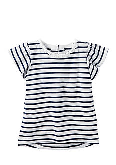 Carter's Navy Stripe Flutter Sleeve Top Girls 4-6x