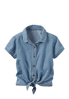 Carter's Chambray Tie Front Top Girls 4-6x