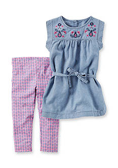 Carter's® 2-Piece Chambray Tunic & Printed Legging Set Girls 4-6x