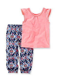 Carter's 2-Piece Neon Flutter Sleeve Top & Printed Jogger Set Girls 4-6x