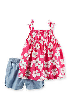 Carter's 2-Piece Floral Tie Tank and Chambray Bubble Short Set Girls 4-6x