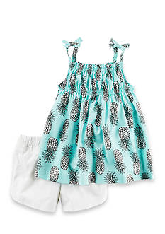 Carter's® 2-Piece Pineapple Tie Tank and Bubble Short Set Girls 4-6x