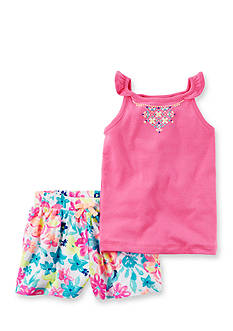 Carter's 2-Piece Neon Flutter Sleeve Top & Floral Short Set Girls 4-6x