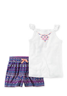 Carter's 2-Piece Neon Flutter Sleeve Top & Printed Short Set Girls 4-6x
