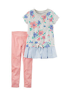 Carter's 2-Piece Floral Shirt Tail Top and Leggings Set Girls 4-6x