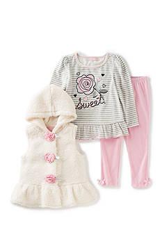 Kids Headquarters Faux Fur Vest and Legging 3-Piece Set Girls 4-6x