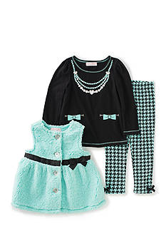 Kids Headquarters Faux Fur Vest and Legging 3-Piece Set Girls 4-6x