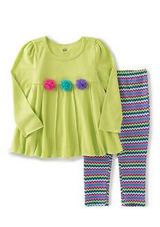 Kids Headquarters 9 Green Rosette Chevron Green Rosette Chevron Tunic and Legging Set Girls 4-6x
