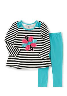 Kids Headquarters Stripe Flower Tunic and Leggings Set Girls 4-6x
