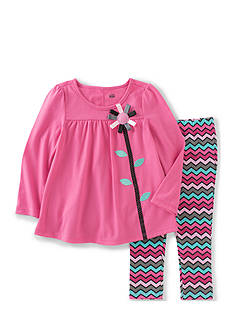 Kids Headquarters Flower Top with Chevron Print Pants Set Girls 4-6x