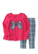 Kids Headqrtrs Inf/Tdlr 2 Piece Coral Bow Plaid