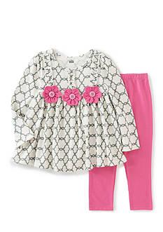 Kids Headquarters Ivory Trellis Print Tunic and Legging Set Girls 4-6x