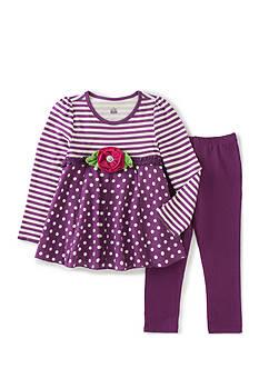 Kids Headqrtrs Girls Purple Dot Stripe Set Girls 4-6X