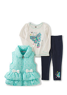 Kids Headquarters Butterfly Vest with Tee and Pants Set Girls 4-6x