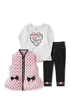 Kids Headquarters Dot Vest with Tee and Pants Set Girls 4-6x