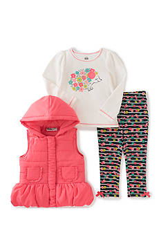 Kids Headquarters Flower Vest with Tee and Pants Set Girls 4-6x