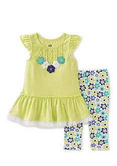 Kids Headquarters 2-Piece Peplum Top And Floral Leggings Set Girls 4-6x