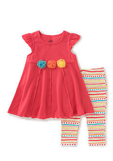 Kids Headquarters 2-Piece Top And Printed Leggings Set Girls 4-6x