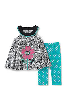Kids Headquarters 2-Piece Printed Top And Polka Dot Legging Set Girls 4-6x