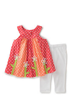 Kids Headquarters Flower Top and Solid Legging 2-Piece Set Girls 4-6x