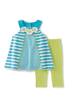 Kids Headquarters 2-Piece Striped Top And Legging Set Girls 4-6x